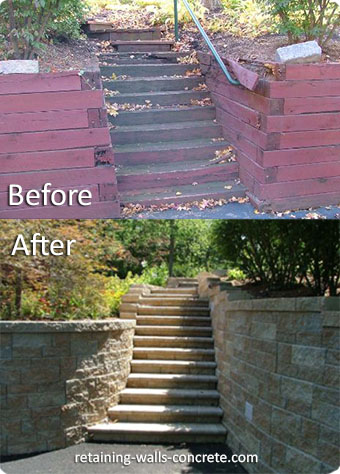 Replacement Retaining Wall With Stairs